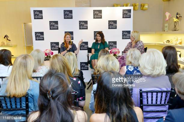 Amanda Benchley Bridget Moynahan and Booth Moore speak onstage during Saks Beverly Hills Celebrates Our Shoes Our Selves Book Launch with Bridget...