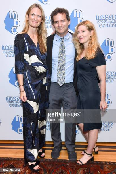 Amanda Benchley Nick Davis and Jane Mendelsohn attend The Maysles Documentary Center's Albie Award Dinner at a Private Club on September 26 2018 in...