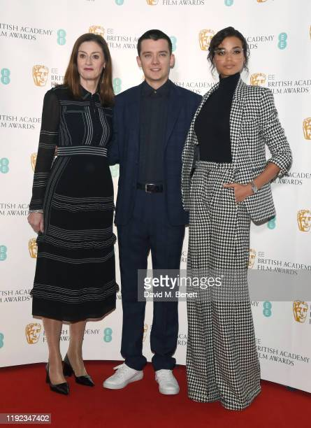 Amanda Berry, Asa Butterfield and Ella Balinska attend the BAFTA Film Awards Nominations Announcement 2020 photcall at BAFTA on January 7, 2020 in...