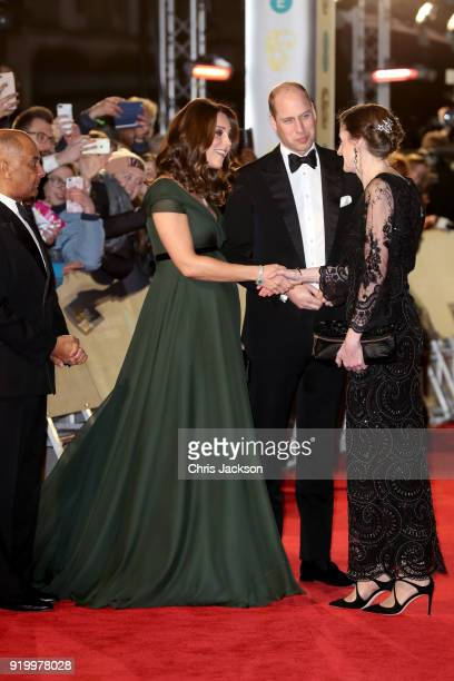Amanda Berry greets Prince William Duke of Cambridge and Catherine Duchess of Cambridge attend the EE British Academy Film Awards held at Royal...