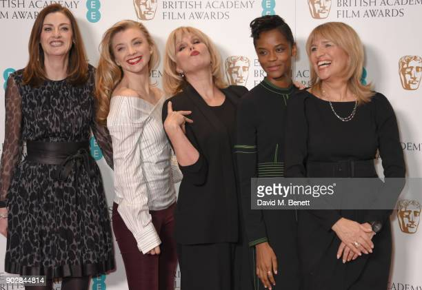 Amanda Berry Natalie Dormer Joanna Lumley Letitia Wright and Jane Lush during The EE British Academy Film Award BAFTA nominations announcement at...