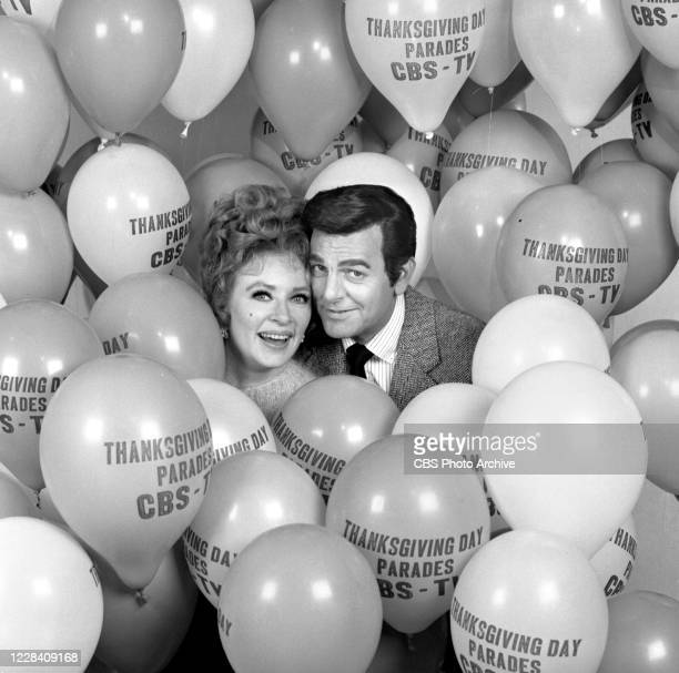 Amanda Blake and Mike Connors with balloons advertising the Thanksgiving Day Parade, September 16, 1970.