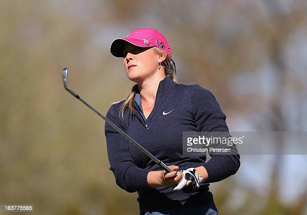 Amanda Blumenherst hits a tee shot on the sixth hole during the first round of the RR Donnelley LPGA Founders Cup at Wildfire Golf Club on March 14...