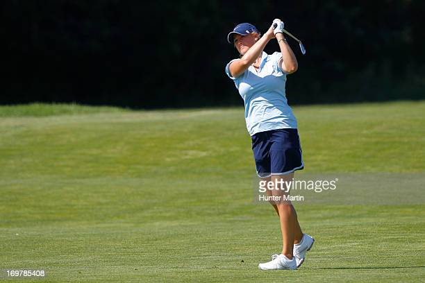 Amanda Blumenherst hits her second shot on the 18th hole during round two of the ShopRite LPGA Classic Presented by Acer at Stockton Seaview Hotel...