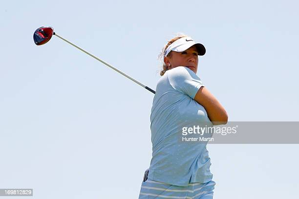 Amanda Blumenherst hits her tee shot on the third hole during the final round of the ShopRite LPGA Classic Presented by Acer at Stockton Seaview...