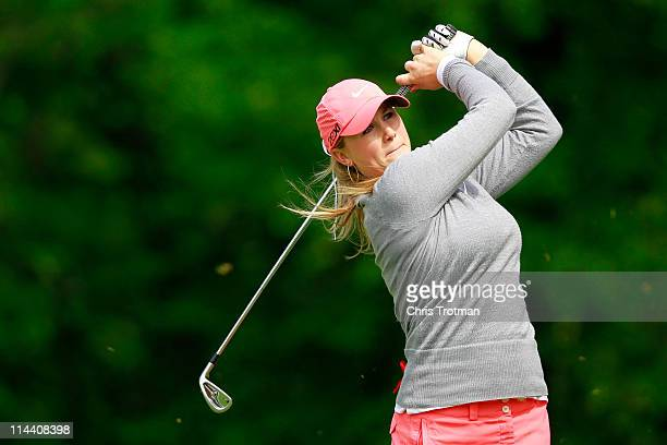 Amanda Blumenherst hits her tee shot to the third hole during round one of the Sybase Match Play Championship at Hamilton Farm Golf Club on May 19...