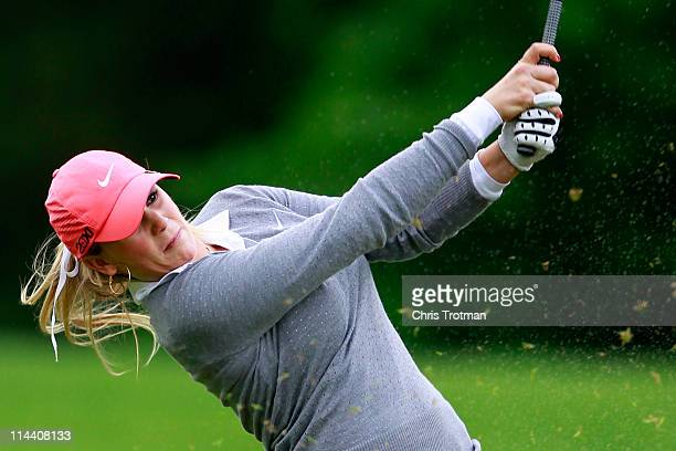 Amanda Blumenherst hits her third shot to the second hole during round one of the Sybase Match Play Championship at Hamilton Farm Golf Club on May 19...
