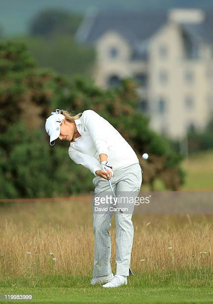 Amanda Blumenherst of the USA hits her 2nd shot on the 5th hole during the first round of the 2011 Ricoh Women's British Open at Carnoustie on July...