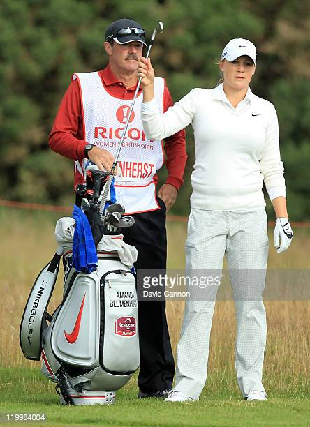 Amanda Blumenherst of the USA pulls a club on the 5th hole during the first round of the 2011 Ricoh Women's British Open at Carnoustie on July 28...