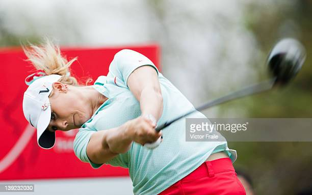 Amanda Blumenherst of USA tees off on the 3rd hole during day three of the LPGA Thailand at Siam Country Club on February 18 2012 in Chon Buri...