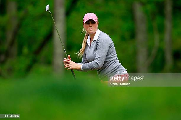 Amanda Blumenherst putts on the second hole during round one of the Sybase Match Play Championship at Hamilton Farm Golf Club on May 19 2011 in...