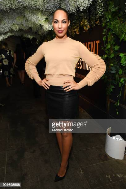 Amanda Brugel attends Moet Chandon celebrates the 3rd annual Moet Moment Film Festival and kicks off Golden Globes week at Poppy on January 5 2018 in...