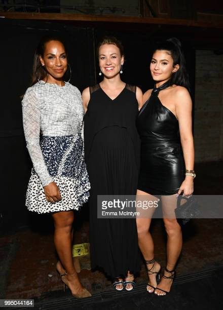 Amanda Brugel Yvonne Strahovski and Kylie Jenner attend 'The Handmaid's Tale' Hulu finale at The Wilshire Ebell Theatre on July 9 2018 in Los Angeles...