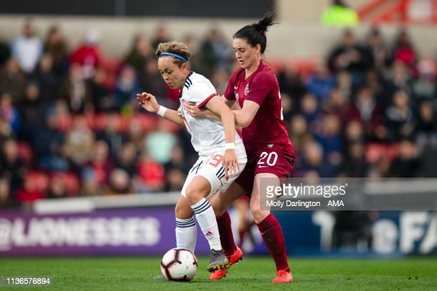 Amanda Bustos of Spain and Jade Moore of England during the International Friendly between England Women and Spain Women at County Ground on April 9...