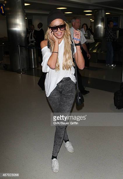Amanda Bynes is seen at LAX on October 10 2014 in Los Angeles California