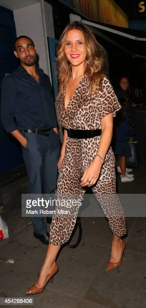 Amanda Byram leaving Some Girl I Used To Know at the Arts theatre on August 27 2014 in London England