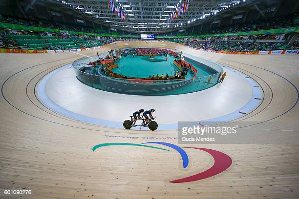 Amanda Cameron and Hannah van Kampen of New Zealand compete in the Women's 1km B Time Trail Final on day 2 of the Rio 2016 Paralympics at Rio Olympic...
