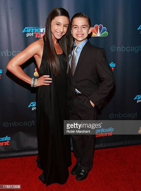 Amanda Carbajales and D'Angelo Castro attend 'America's Got Talent' Season 8 Red Carpet Event at Radio City Music Hall on August 28 2013 in New York...