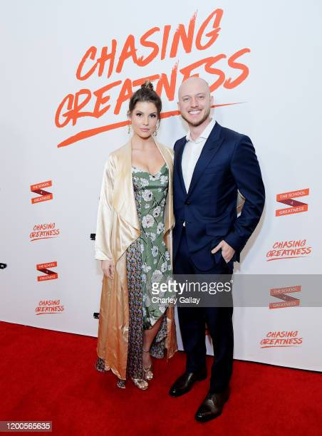 Amanda Cerny and Johannes Bartl attend Lewis Howes Documentary Live Premiere Chasing Greatness at Pacific Theatres at The Grove on February 12 2020...