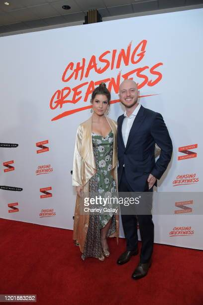Amanda Cerny and Johannes Bartl attends Lewis Howes Documentary Live Premiere Chasing Greatness at Pacific Theatres at The Grove on February 12 2020...