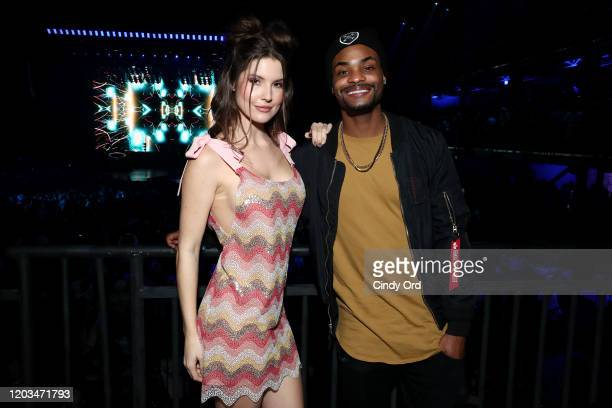 Amanda Cerny and King Bach attend ATT TV Super Saturday Night at Meridian at Island Gardens on February 01 2020 in Miami Florida