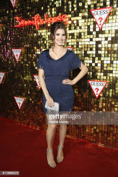 Amanda Cerny at the Guess Spring 2018 Campaign Reveal starring Jennifer Lopez on January 31 2018 in Los Angeles California