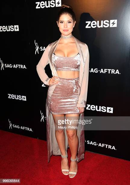 Amanda Cerny attends a celebration for The July 13th Global Launch of ZEUS presented by SAGAFTRA and The Zeus Network at Lure Nightclub Hollywood on...