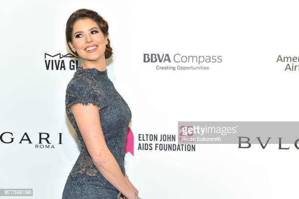 Amanda Cerny attends the 26th annual Elton John AIDS Foundation's Academy Awards Viewing Party at The City of West Hollywood Park on March 4 2018 in...