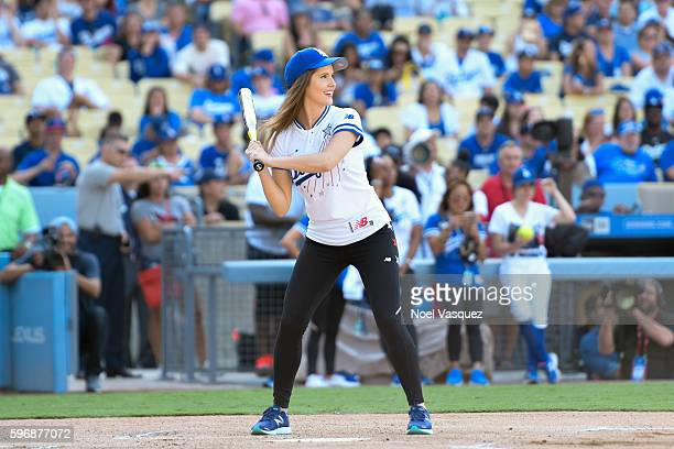 Amanda Cerny attends the Hollywood Stars game at Dodger Stadium on August 27 2016 in Los Angeles California