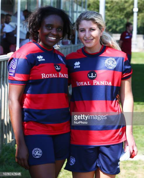 LR Amanda Chimbima of Queens Park Rangers Women and Samantha Miller of Queens Park Rangers Women during The FA National LeagueCup match between...