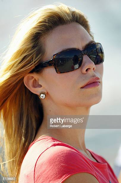 Amanda Church girlfriend of Jeff Gordon driver of the Hendrick Motorsports Dupont Chevrolet during qualifying for the NASCAR Winston Cup Ford 400 at...