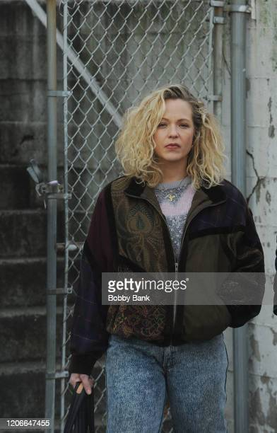 Amanda Clayton on the set of the Showtime TV series City on a Hill on March 11 2020 in New York City