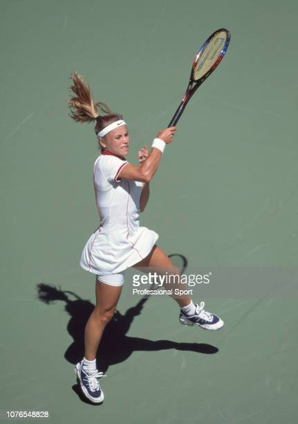 Amanda Coetzer of South Africa in action during a match at the 1997 Australian Open at Melbourne Park in Melbourne Australia circa January 1997