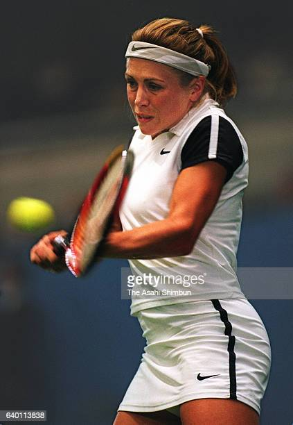 Amanda Coetzer of South Africa plays a backhand during the singles semi final match against Monica Seles of the United States during day five of the...