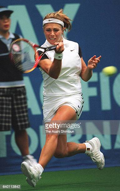 Amanda Coetzer of South Africa plays a forehand during the singles semi final match against Monica Seles of the United States during day five of the...