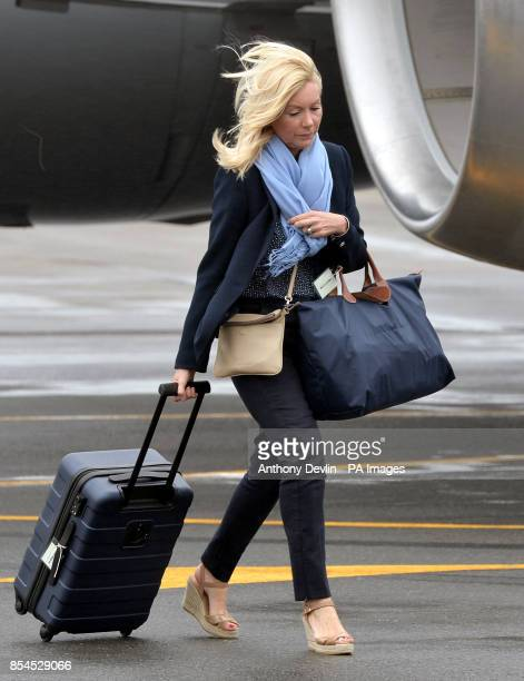 Amanda Cook Tucker hairdresser for the Duchess of Cambridge arrives at Wellington Military Terminal on the first day of their official to Australia