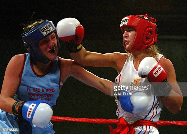 Amanda Coulson in action against Alana Murphy in the womens lightwelterweight contest during the Amateur Boxing Association Finals at Excel Docklands...
