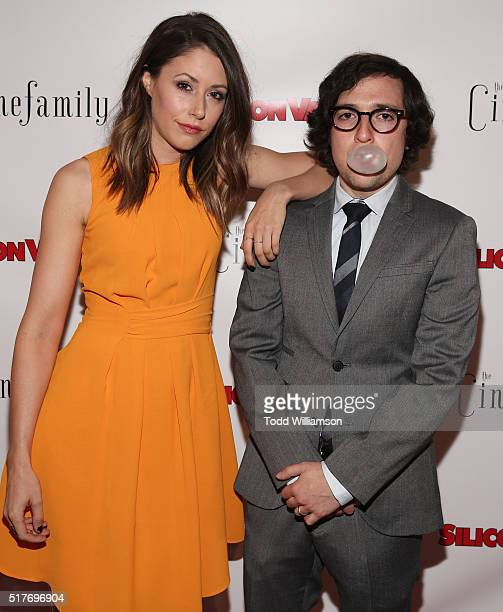 Amanda Crew and Josh Brener attend the red carpet for a premiere of Scene 308 of HBO's Silicon Valley at Cinefamily on March 25 2016 in Los Angeles...