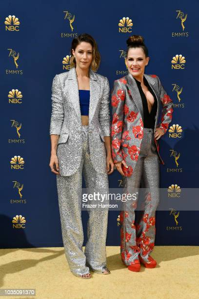 Amanda Crew and Suzanne Cryer attend the 70th Emmy Awards at Microsoft Theater on September 17, 2018 in Los Angeles, California.