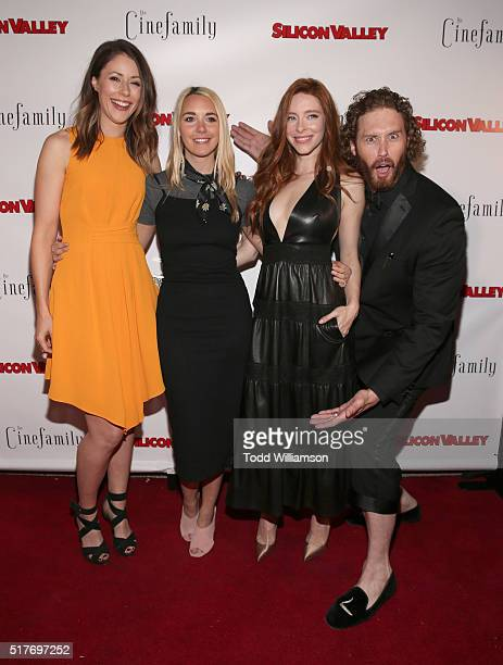 Amanda Crew Mollie Gates and Kate Gorney and TJ Miller attend the red carpet for a premiere of Scene 308 of HBO's Silicon Valley at Cinefamily on...
