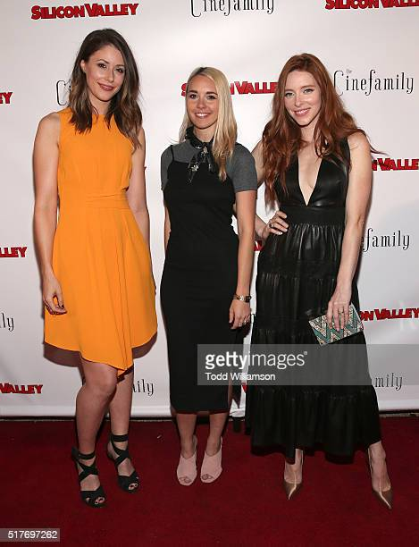 Amanda Crew Mollie Gates and Kate Gorney attend the red carpet for a premiere of Scene 308 of HBO's Silicon Valley at Cinefamily on March 25 2016 in...