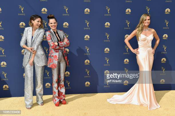 Amanda Crew Suzanne Cryer and Heidi Klum attend the 70th Emmy Awards at Microsoft Theater on September 17 2018 in Los Angeles California