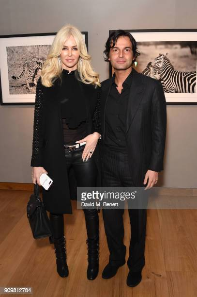 Amanda Cronin and Edoardo Francia attend photography exhibition book launch 'Africa Serena 30 Years Later' on January 24 2018 in London United Kingdom