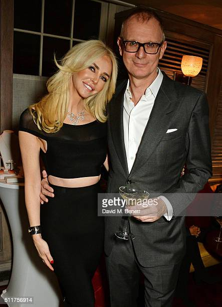 """Amanda Cronin and Mark Daeche attend the launch of Tracey Emin and Stephen Webster's new jewellery collection """"I Promise To Love You"""" at 34 Grosvenor..."""
