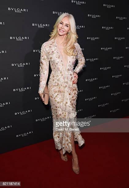Amanda Cronin arrives at the Bulgari flagship store reopening on New Bond Street on April 14, 2016 in London, England.