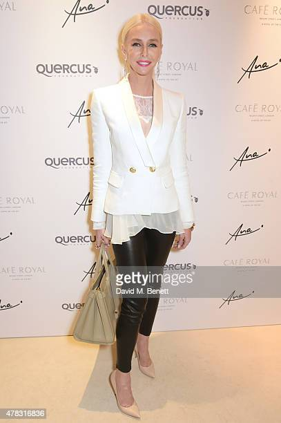 Amanda Cronin arrives at the Quercus Foundation PreWimbledon Cocktails with Ana Ivanovic in the Ten Room at Hotel Cafe Royal on June 24 2015 in...