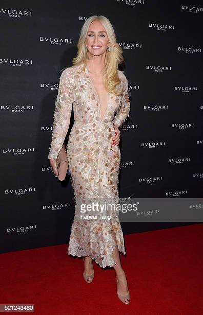 Amanda Cronin attends the Bulgari flagship store reopening on New Bond Street on April 14th 2016 in London England