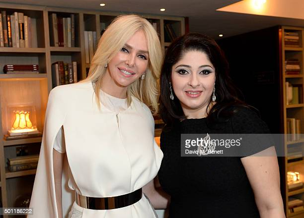 Amanda Cronin Aytan Shirinova attends the Saqqara Jewels lunch for Children In Crisis at the Belgraves Hotel on December 7 2015 in London England