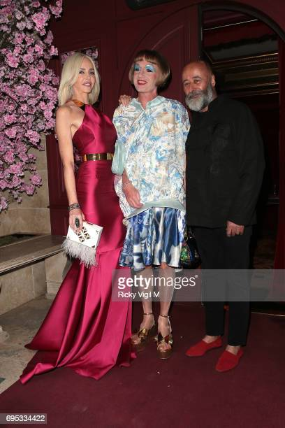 Amanda Cronin Grayson Perry and Richard Young attend An Evening of Oriental Splendour charity gala at Park Chinois on June 12 2017 in London England