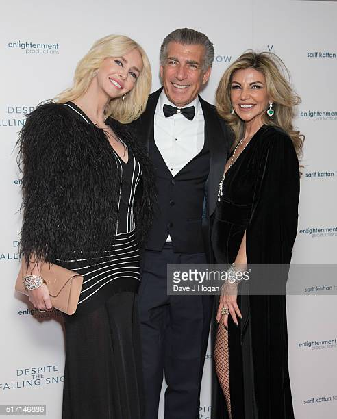 Amanda Cronin Steve Varsano and Lisa Tchenguiz attend a drink reception during a charity premiere of Despite The Falling Snow at May Fair Hotel on...